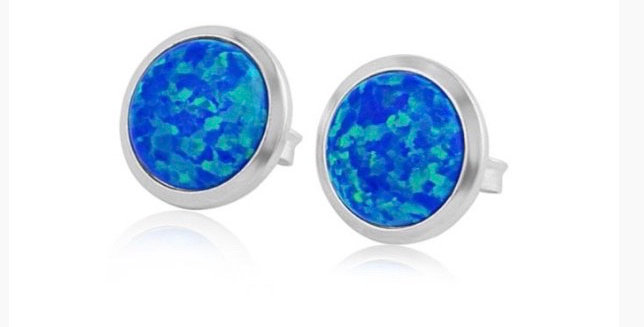 Dark Blue Opal and Silver Stud Earrings - 5mm