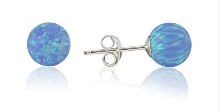 Blue Opal Bead Stud Earrings - 7mm