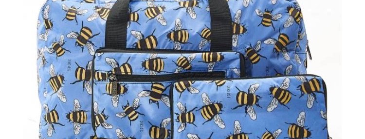 EcoChic Lightweight Foldable Holdall - Bees Blue
