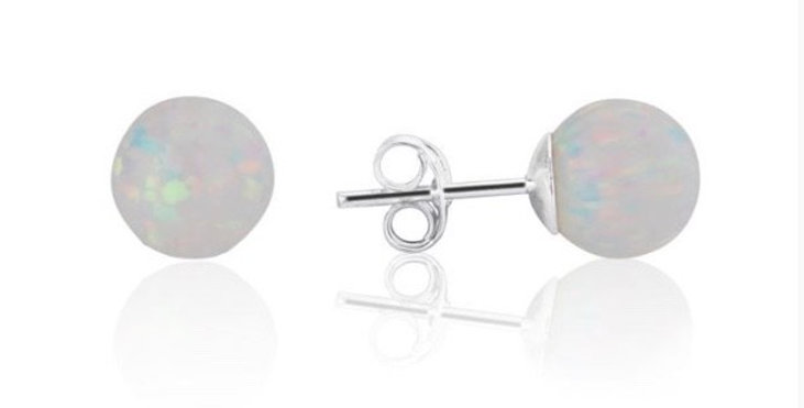 White Opal Bead Stud Earrings - 8mm