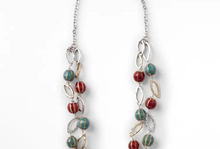 Metal Ceramic Layered Necklace