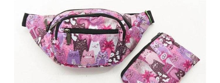 EcoChic Bum Bag - Cats Purple
