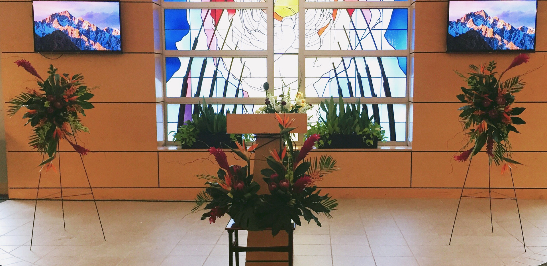 Tropical Themed Funeral Florals