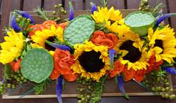 Sunflowers, lotus pods, veronica,