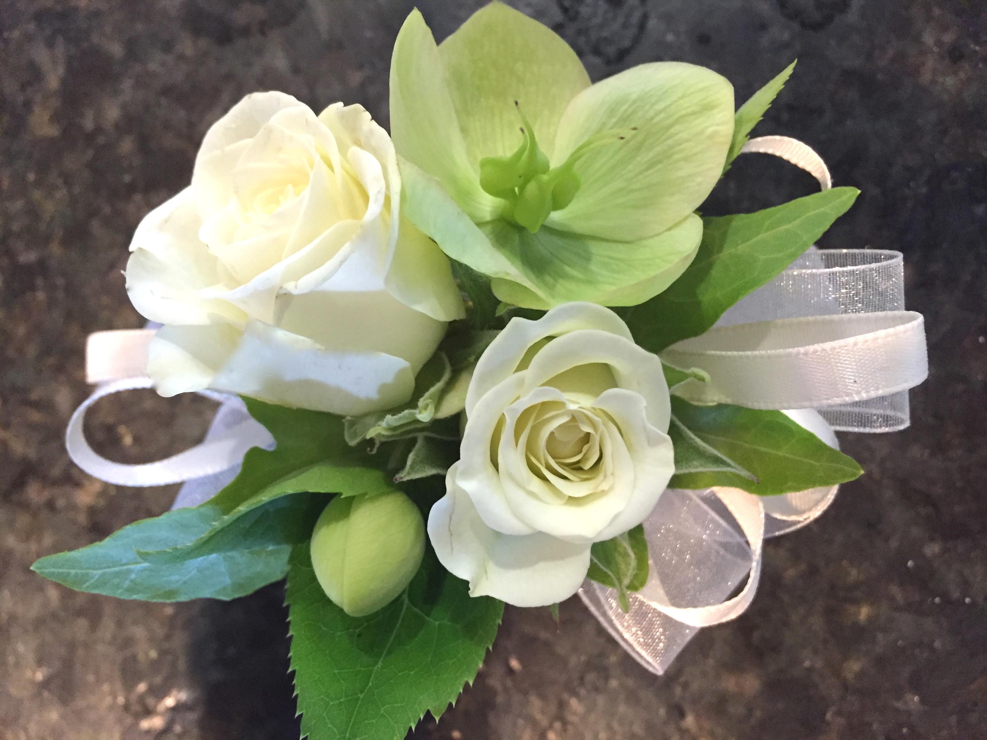 white & green wristlet