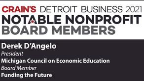 Derek D'Angelo honored by Crain's Detroit Business