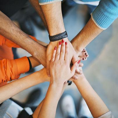 Pile de mains. Concept de travail d'équipe.