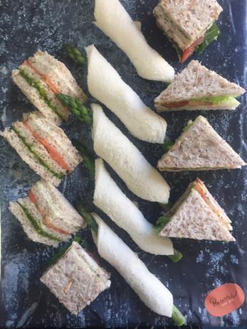 Asparagus Rolls & Club Sandwiches