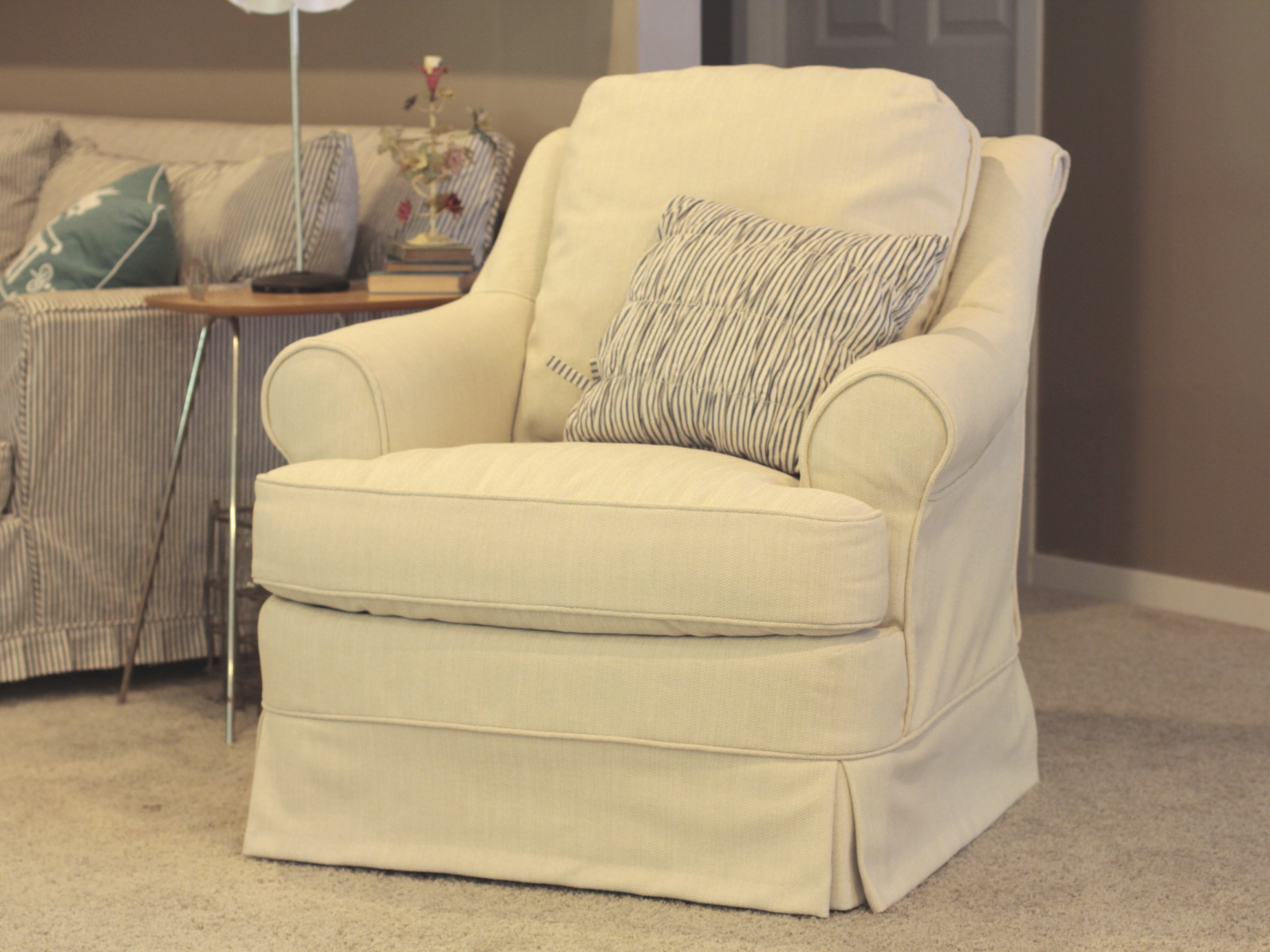 Scrolled Back Chair Slipcover