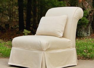 Scrolled back slipper chair