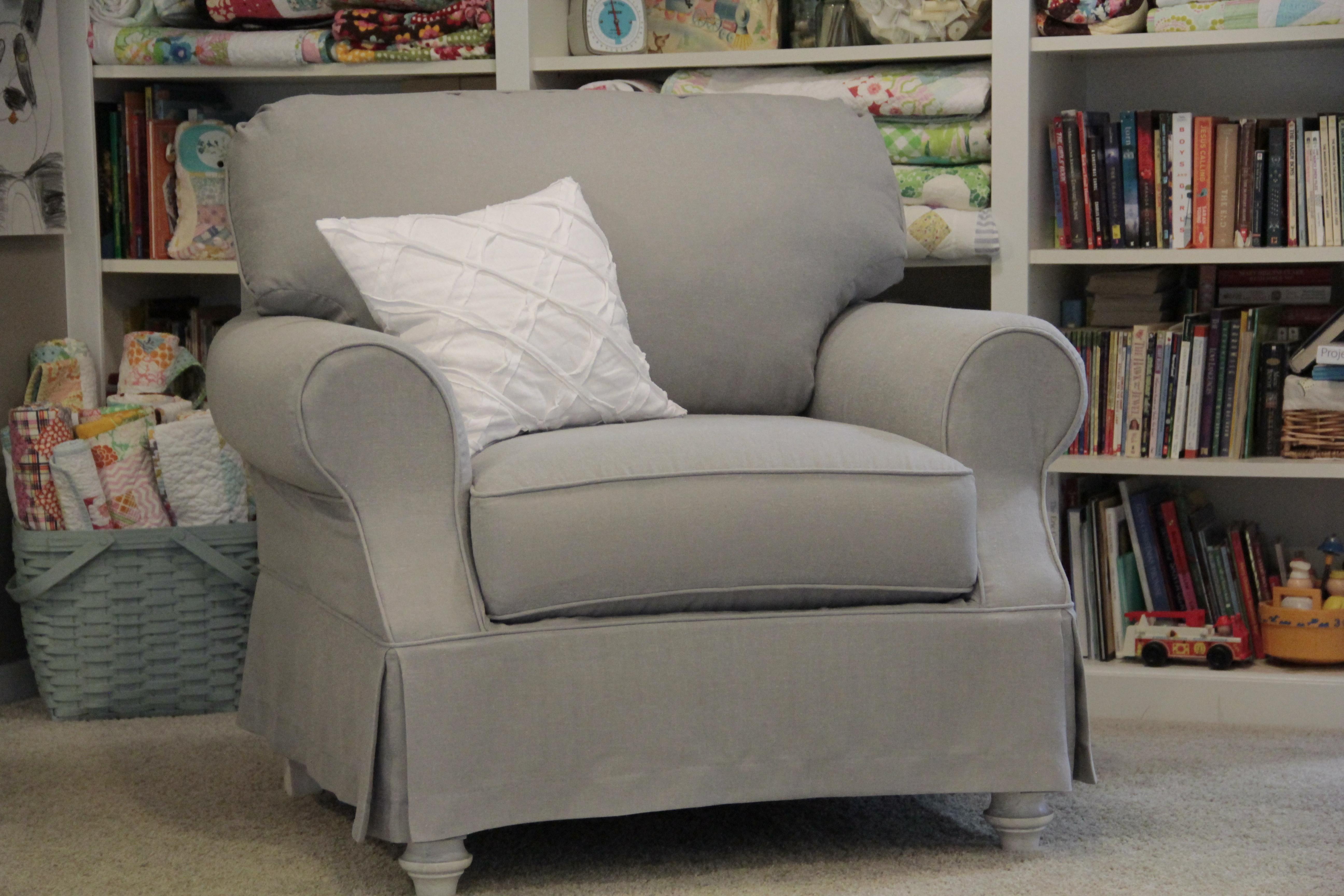 Gray Linen Slipcover Chair
