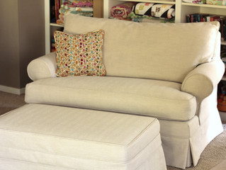Slipcovered Loveseat and Ottoman