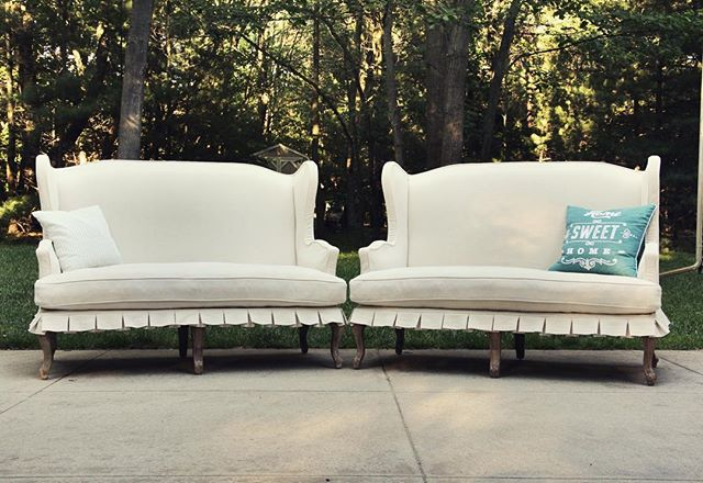 I finished up this pair of sofas last week