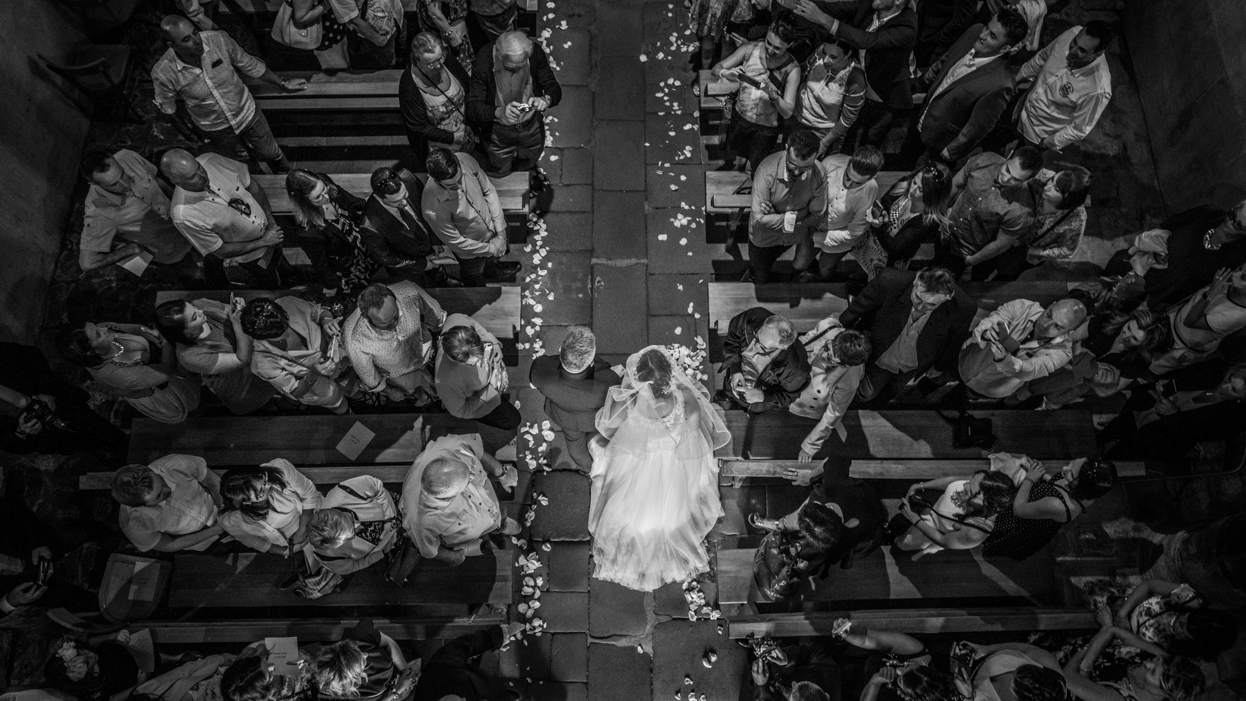 L'entrée de la mariée vu d'en haut