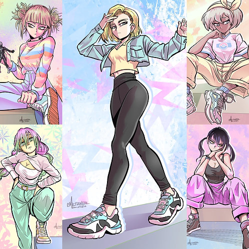 """Casual Anime Girls"" S4 4x6 Prints"