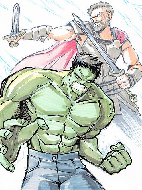 """Hulk x Thor"" 8.5x11 Print"