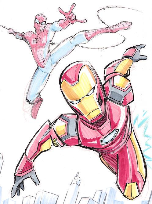 """""""Ironman x Spiderman"""" 8.5x11 Print"""