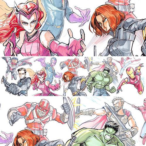 """""""Marvel Team-ups"""" 6x18"""" Print"""