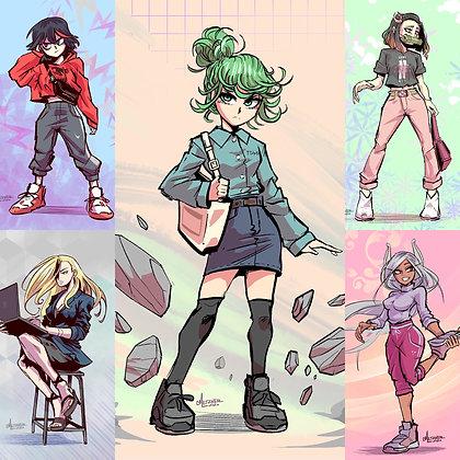 """Casual Anime Girls"" S1 4x6 Prints"