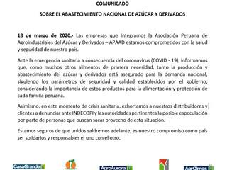 COMUNICADO SOBRE EL ABASTECIMIENTO NACIONAL DE AZÚCAR Y DERIVADOS