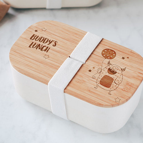 Engraved Eco Bamboo Lunch Box with Little Monste