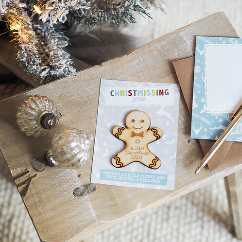 A Big Gingerbread Hug - Christmas Little Pocket Hug Token - Christmissing You