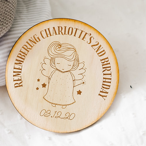 Wooden Birthday Memorial Plaque Keepsake - Baby GIRL Angel Design