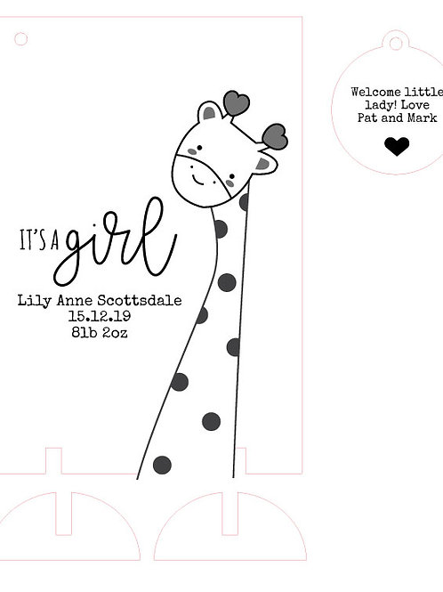 It's a Girl New Baby Wooden Card Keepsake with Giraffe