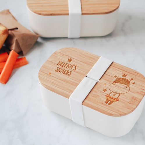 Eco Bamboo Lunch Box with Princess Hippo Design