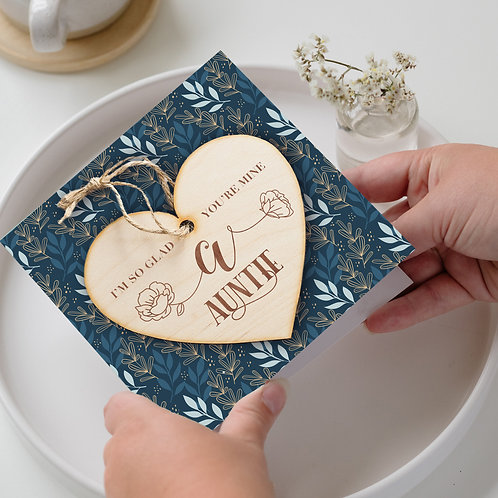 Birthday Card and Hanging Heart Plaque For Auntie from Niece or Nephew