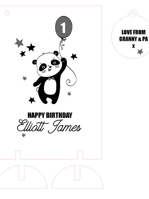 Wooden Keepsake Birthday Card with Panda and Balloon
