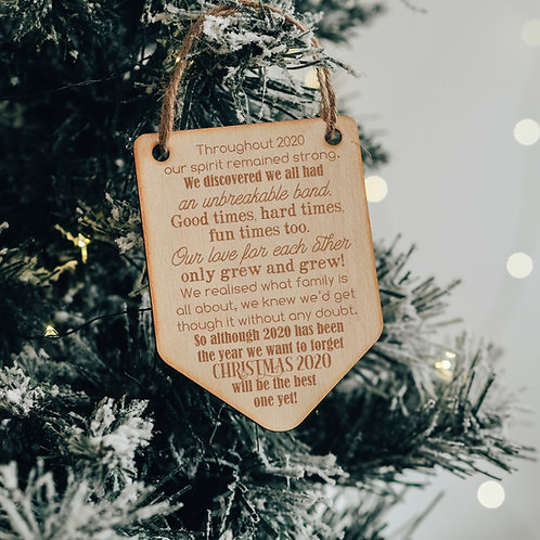 Wooden Bauble with Christmas 2020 Poem