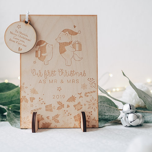 First Christmas as Mr & Mrs Wooden Keepsake Greeting Card with Hedgehog & Bear