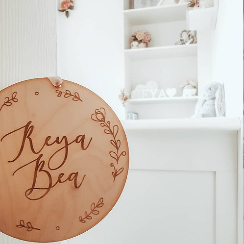 Wooden Name Nursery Plaque with Floral Design and Hanging Ribbon
