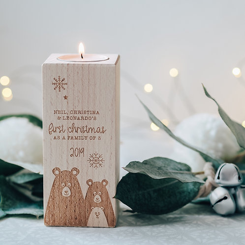 Tall Christmas Tea Light Candle Holder - First Christmas as a Family of 3