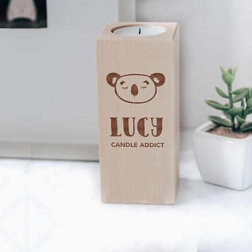 Engraved Wooden Tea Light Candle Holder with Koala Design