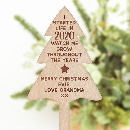 Christmas Tree Shaped Plant / Flower Pick - 2020 Watch Me Grow