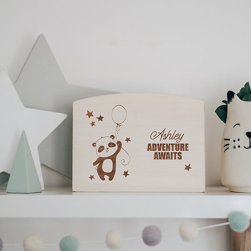 'Adventure Awaits' Savings Money Box / Piggy Bank with Panda Design