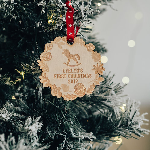Baby's First Christmas Wreath Shaped Tree Decoration with Rocking Horse