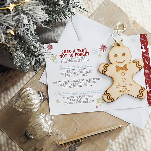Gingerbread Man Christmas Bauble Gift - Christmas 2020 with Card Poem