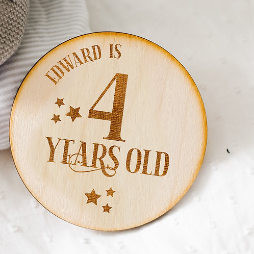 Wooden Birthday Plaque Keepsake / Cake Smash Photo Prop - Star Design