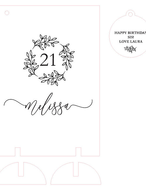 Floral Wooden Birthday Card Keepsake ANY AGE!