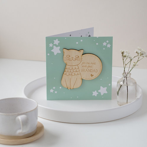 Cat Father's Day / Birthday Card for Purr-fect Grandad with Wooden Keepsake