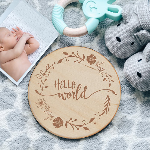 Hello World Floral New Baby Birth Announcement Wooden Plaque Card Sign Keepsake