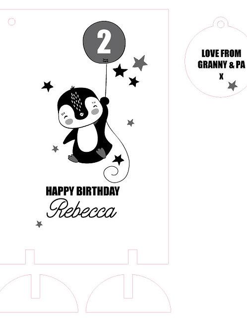 Wooden Keepsake Birthday Card with Penguin and Balloon