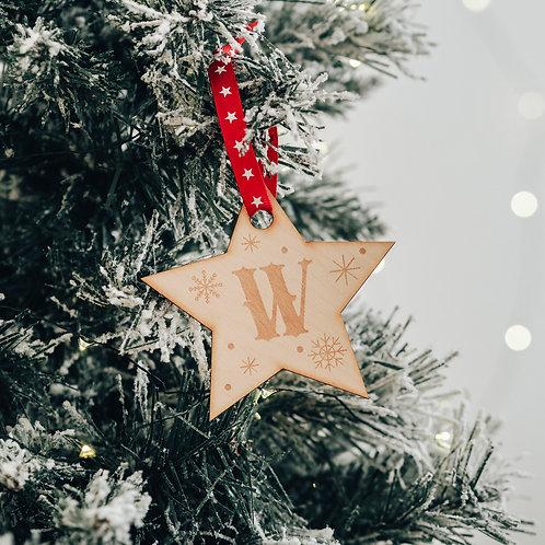 Star Shaped Initial Christmas Tree Decoration - RANDOM RIBBON SELECTION