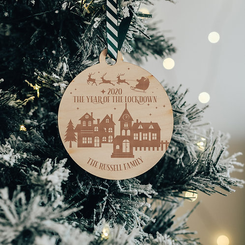 Personalised Christmas 2020 - The Year of the Lockdown Wooden Bauble