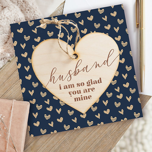 Husband Valentine's Day Card / Birthday Card & Hanging Wooden Heart Plaque Gift
