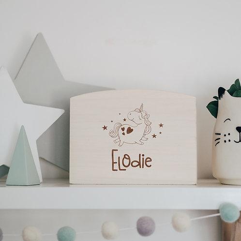 Wooden Unicorn Savings Money Box / Piggy Bank