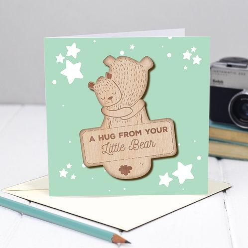 Little Pocket Hug Wooden Token on Card for Grandma / Grandad / Grandparents